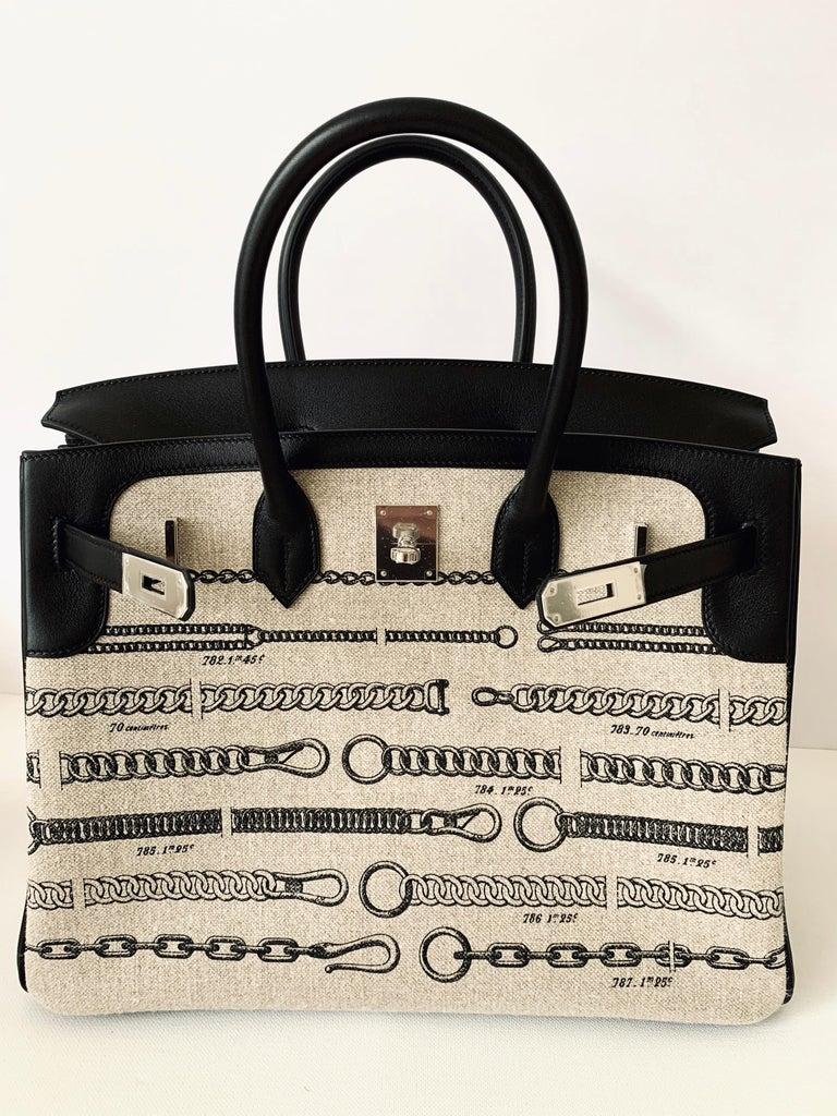 Hermes Birkin Bag 35 De Camp Dechainee Toile Black Veau Swift Palladium Hardware For Sale 4