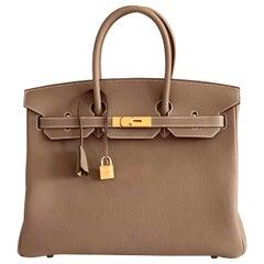 Hermes Birkin Bag 35 Etoupe Togo Gold Hardware - 2021 Z