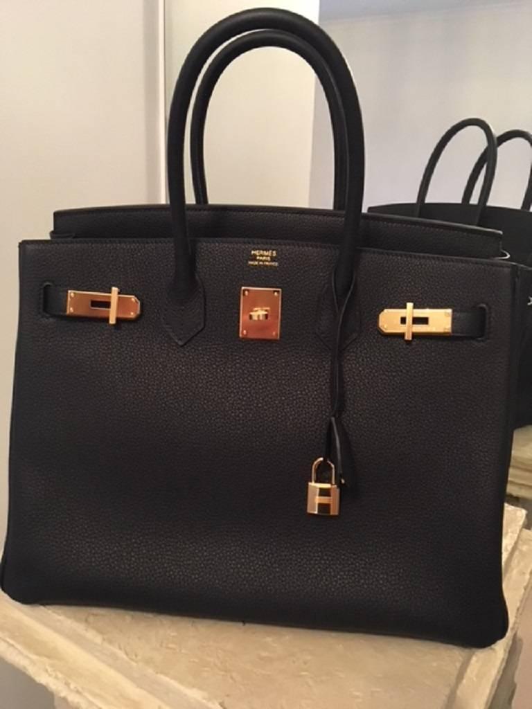 bbec53f245 Hermes Kelly Bag 35 Togo Leather Black