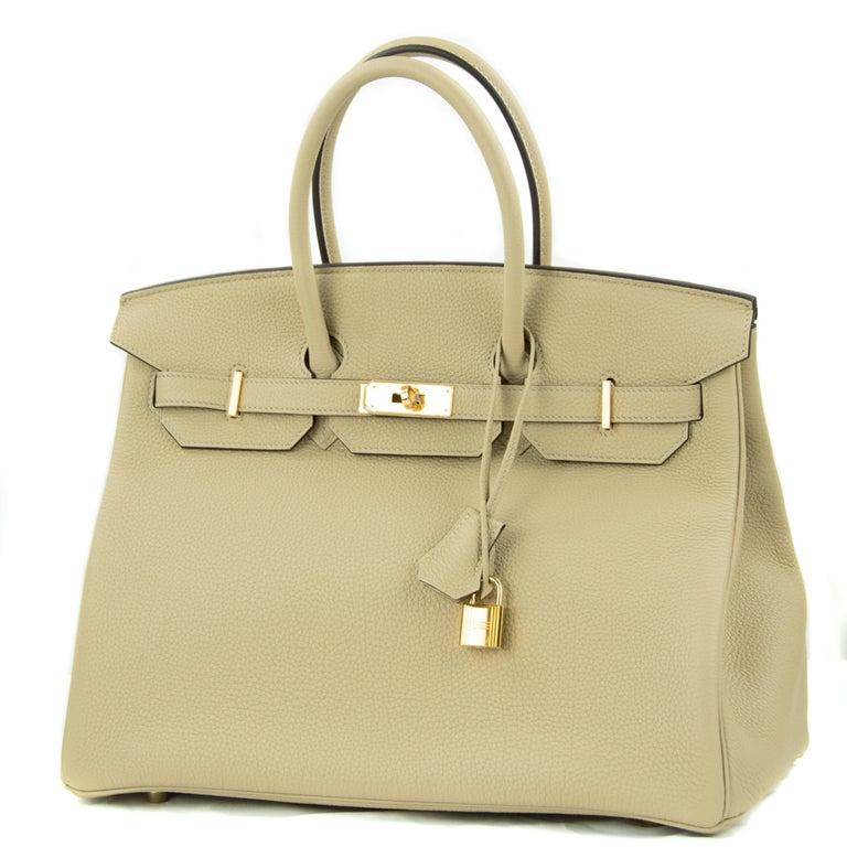 Beige Hermes Birkin Bag 35cm Argile Togo GHW For Sale