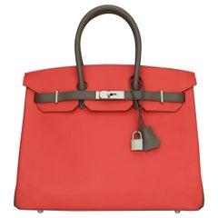 Hermès Birkin Bag 35cm Bag HSS Rouge Pivoine/ Etain Epsom w/Brushed PHW 2012
