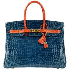 Hermes Birkin Bag 35cm Bi-Color Blue Abyss & Orange Porosus Crocodile GHW