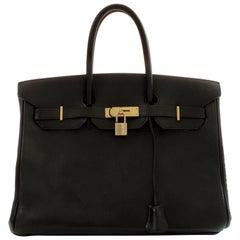 Hermes Birkin Bag 35cm Black Ardennes Leather Vintage 90s