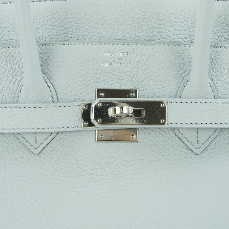 Hermes Birkin Bag 35cm Bleu Pale Clemence PHW For Sale 5
