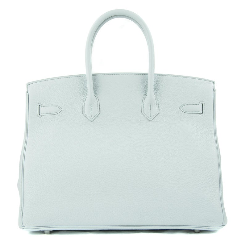 Hermes 35cm Birkin bag in Pale Bleu Clemence. This iconic special order Hermes Birkin bag is timeless and chic. Fresh and crisp with palladium hardware.      Condition: New or Never Used     Made in France     Bag Measures: 35cm (13.8