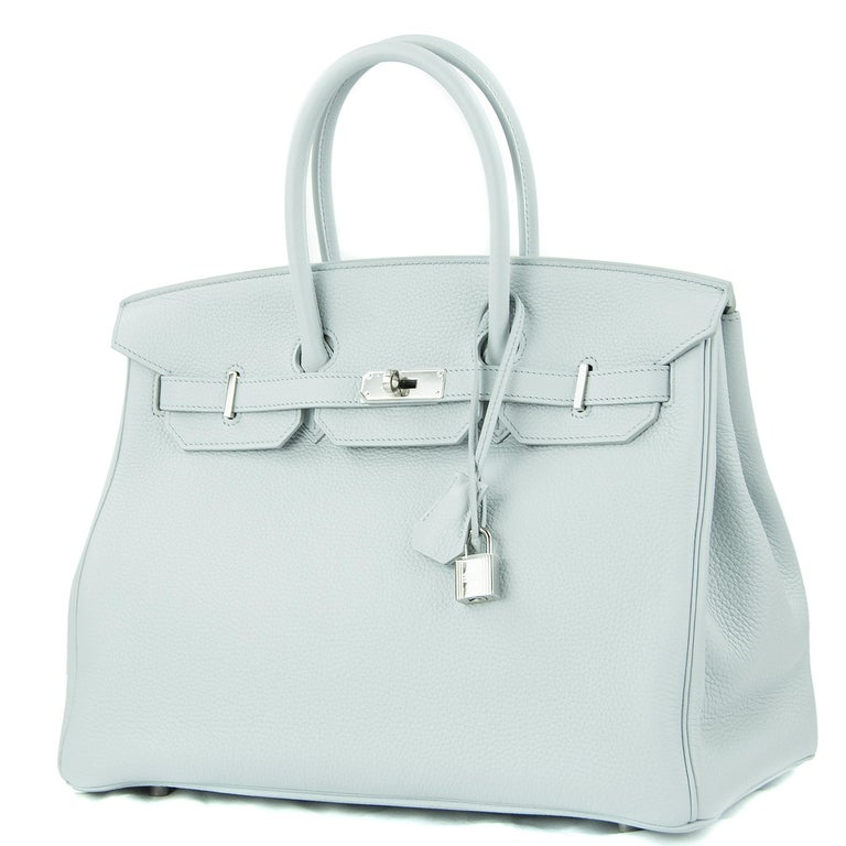 Gray Hermes Birkin Bag 35cm Bleu Pale Clemence PHW For Sale