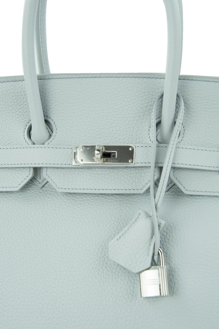 Women's or Men's Hermes Birkin Bag 35cm Bleu Pale Clemence PHW For Sale