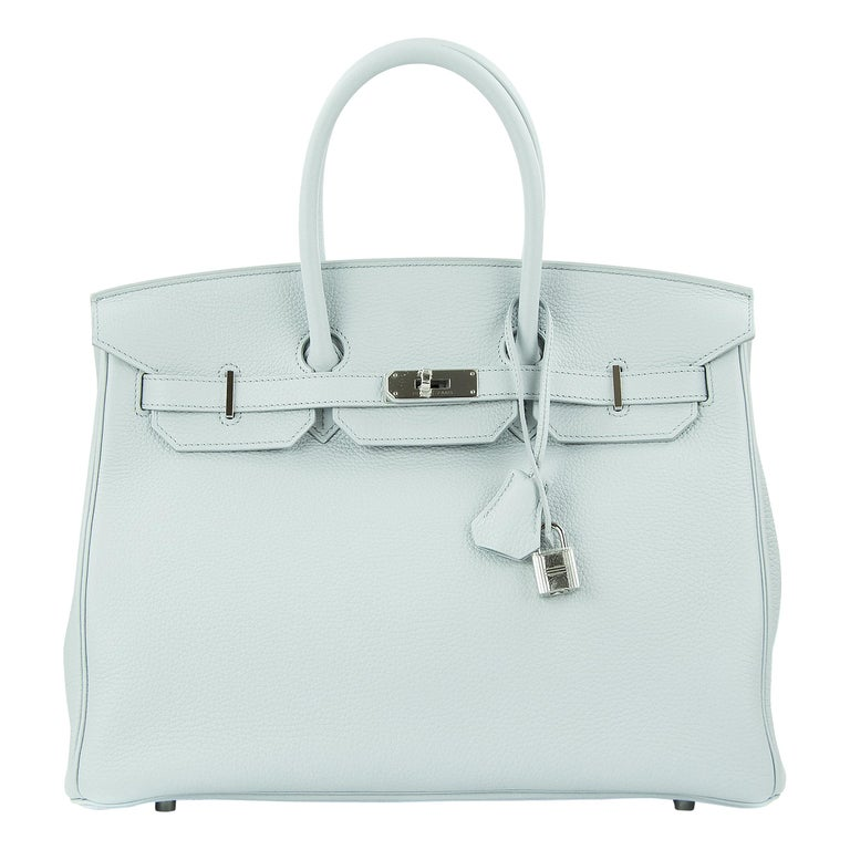 Hermes Birkin Bag 35cm Bleu Pale Clemence PHW For Sale