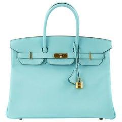 Hermes Birkin Bag 35cm Blue Atoll Epsom GHW