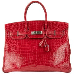 Hermes Birkin Bag 35cm Braise Porosus Crocodile PHW