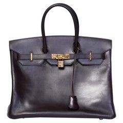 Hermes Birkin Bag 35cm Brown box Leather Togo Gold Hardware 2005