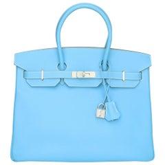 Hermès Birkin Bag 35cm Candy Collection Blue Celeste/Mykonos Epsom w/PHW 2012