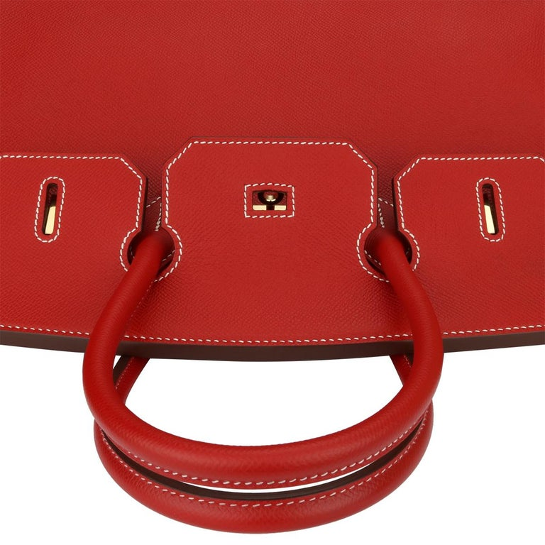 Hermès Birkin Bag 35cm Candy Rouge Casaque/Bleu Thalassa Epsom w/GHW_2012 For Sale 7