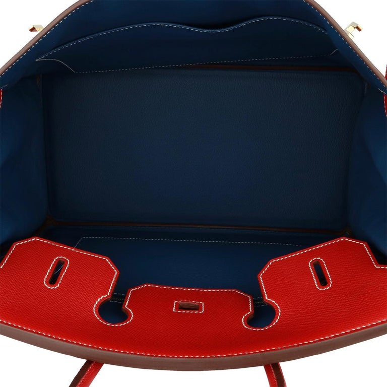 Hermès Birkin Bag 35cm Candy Rouge Casaque/Bleu Thalassa Epsom w/GHW_2012 For Sale 8