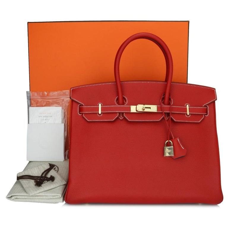 Authentic Hermès Birkin Bag 35cm Candy Rouge Casaque/Bleu Thalassa Epsom Leather with Champagne Gold Hardware Stamp P_Year 2012.  This bag is still in a brand new condition. The leather still smells fresh as when new, along with it still holding to