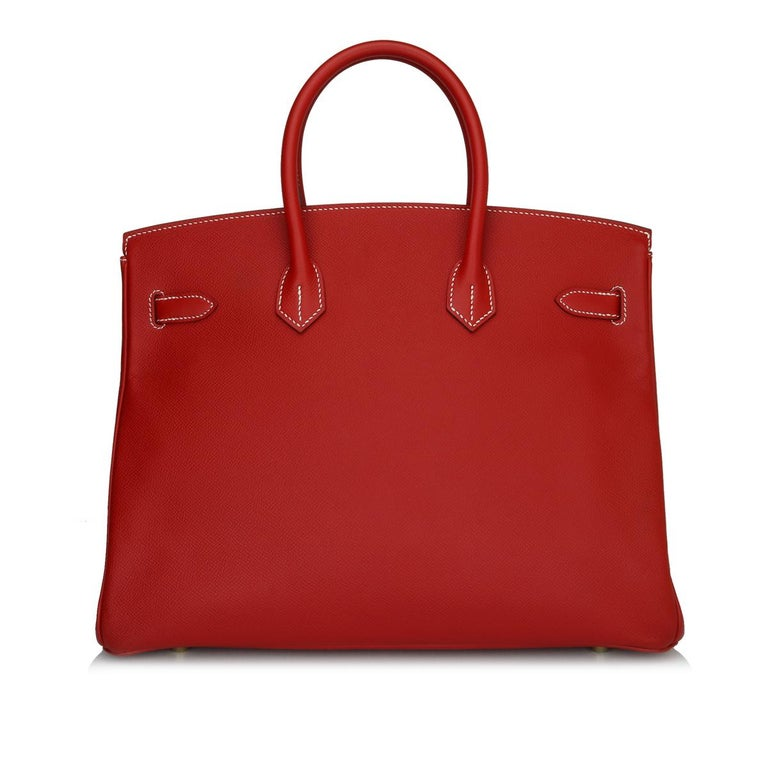 Red Hermès Birkin Bag 35cm Candy Rouge Casaque/Bleu Thalassa Epsom w/GHW_2012 For Sale
