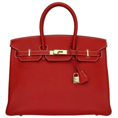 Hermès Birkin Bag 35cm Candy Rouge Casaque/Bleu Thalassa Epsom w/GHW_2012