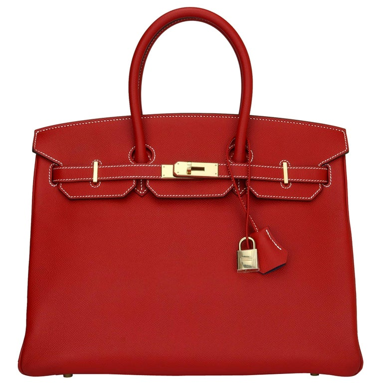 Hermès Birkin Bag 35cm Candy Rouge Casaque/Bleu Thalassa Epsom w/GHW_2012 For Sale
