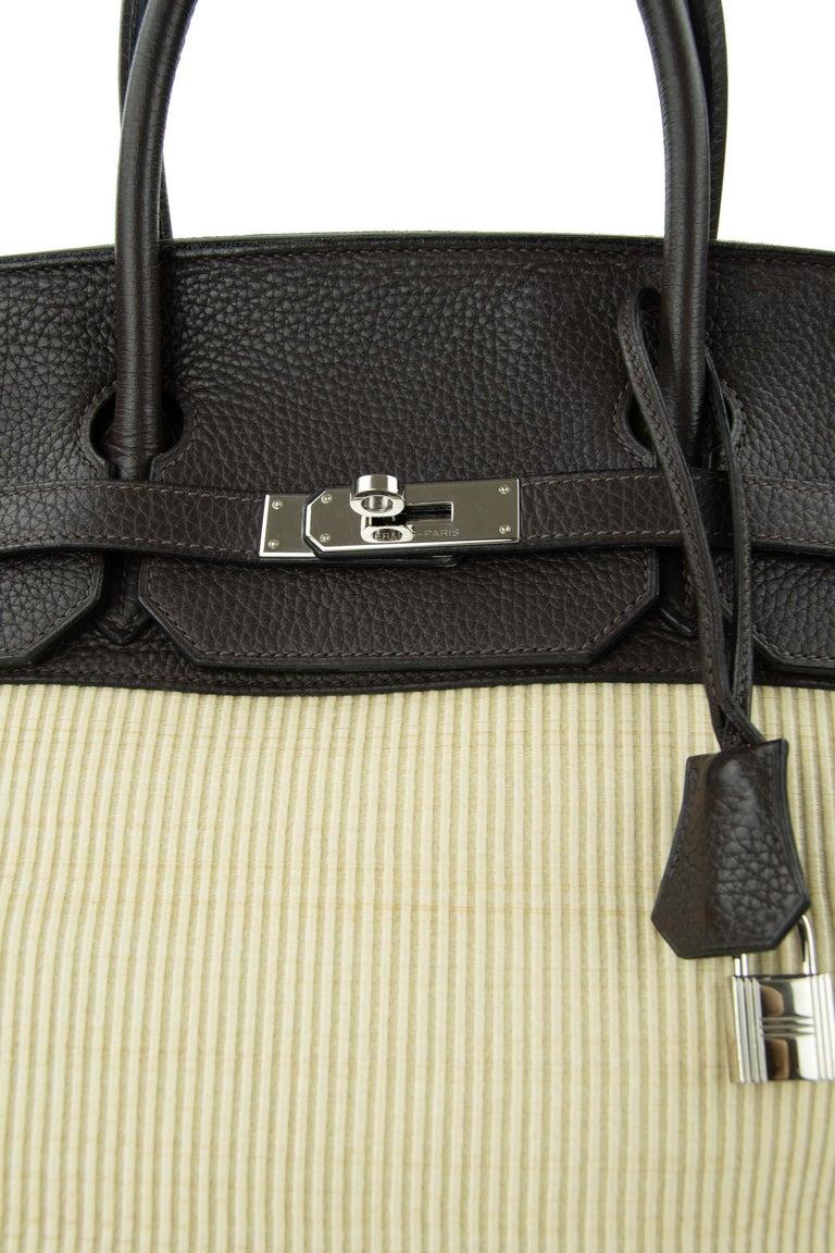 Hermes Birkin Bag 35cm Chocolate Togo Crinolin PHW (Pre Owned) For Sale 6