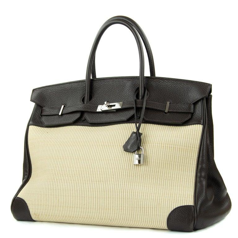 Beige Hermes Birkin Bag 35cm Chocolate Togo Crinolin PHW (Pre Owned) For Sale