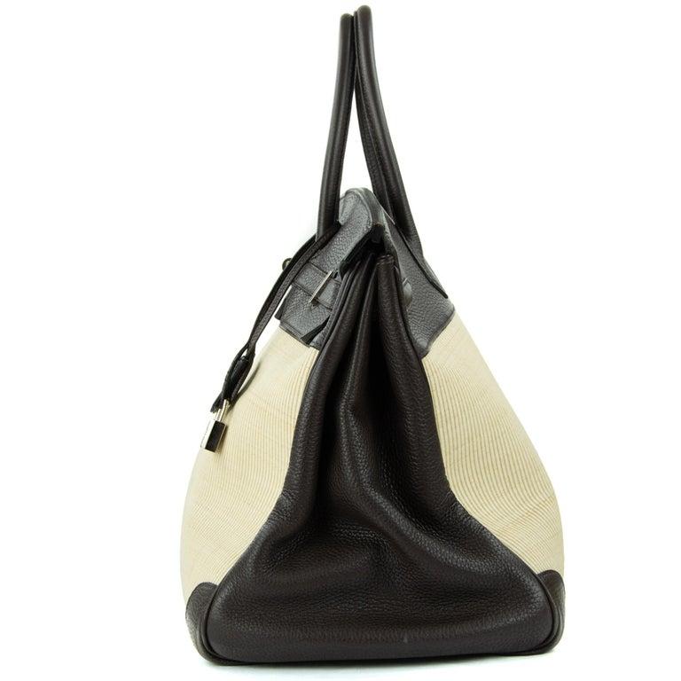 Women's or Men's Hermes Birkin Bag 35cm Chocolate Togo Crinolin PHW (Pre Owned) For Sale
