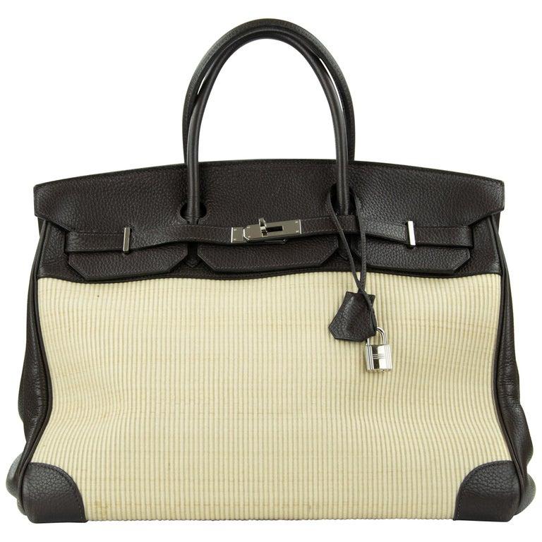Hermes Birkin Bag 35cm Chocolate Togo Crinolin PHW (Pre Owned) For Sale