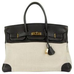 Hermes Birkin Bag 35cm Chocolate Toile GHW (Pre Owned)