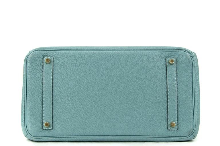 Blue Hermes Birkin Bag 35cm Ciel Clemence GHW (Pre Owned) For Sale