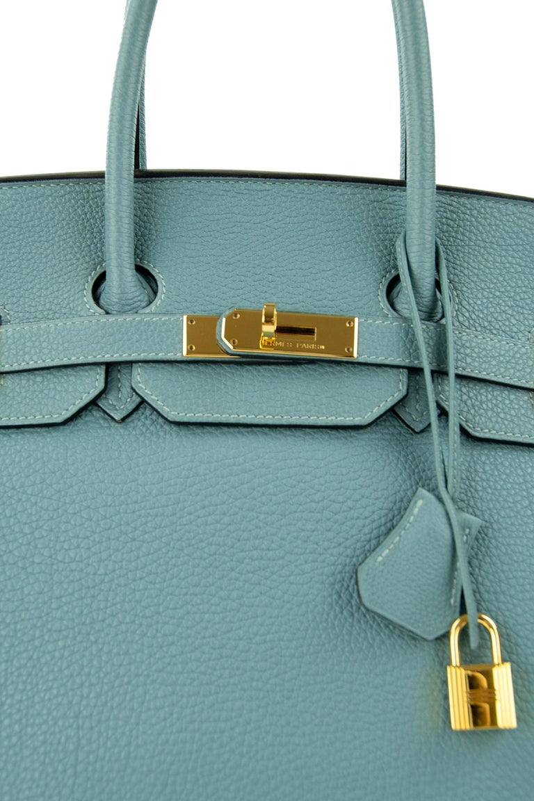 Hermes Birkin Bag 35cm Ciel Clemence GHW (Pre Owned) In Excellent Condition For Sale In Newport, RI