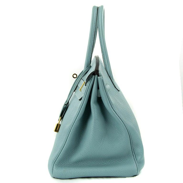 Women's or Men's Hermes Birkin Bag 35cm Ciel Clemence GHW (Pre Owned) For Sale
