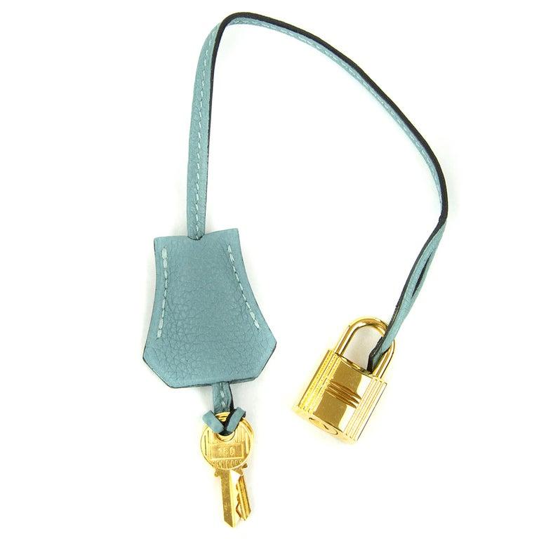 Hermes Birkin Bag 35cm Ciel Clemence GHW (Pre Owned) For Sale 2