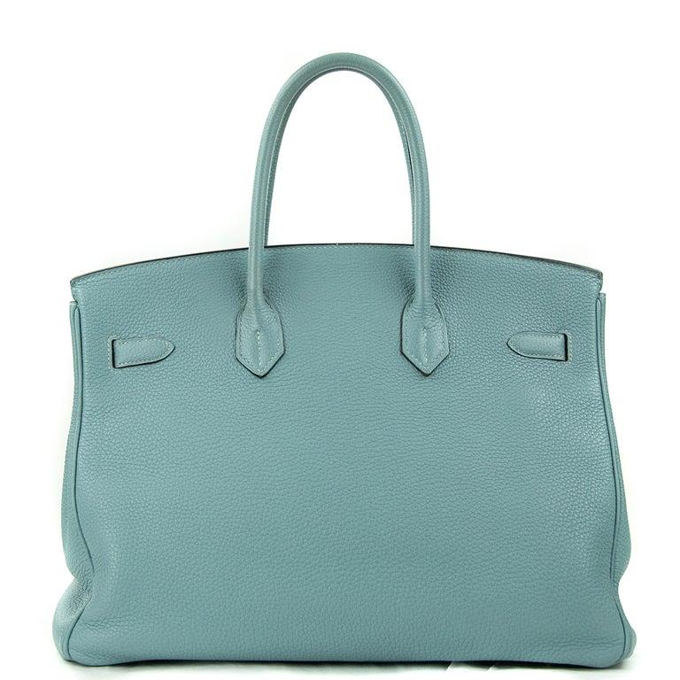 Hermes Birkin Bag 35cm Ciel Clemence GHW (Pre Owned) For Sale 4