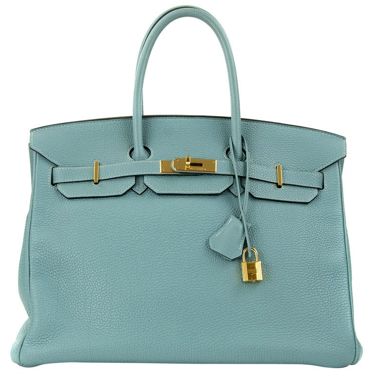 Hermes Birkin Bag 35cm Ciel Clemence GHW (Pre Owned) For Sale