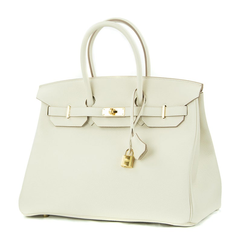 Beige Hermes Birkin Bag 35cm Craie Togo GHW For Sale