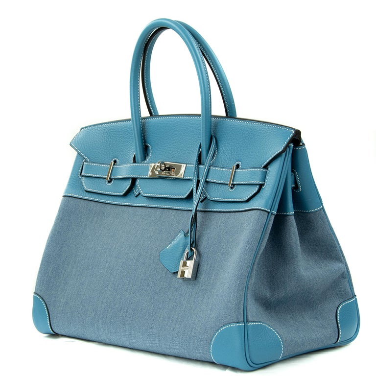 Hermes 35cm Birkin in Denim Blue Jean Togo. This iconic special order Hermes Birkin bag is timeless and chic. Fresh and crisp with palladium hardware.      Condition: New or Never Used     Made in France     Bag Measures: 35cm (13.8