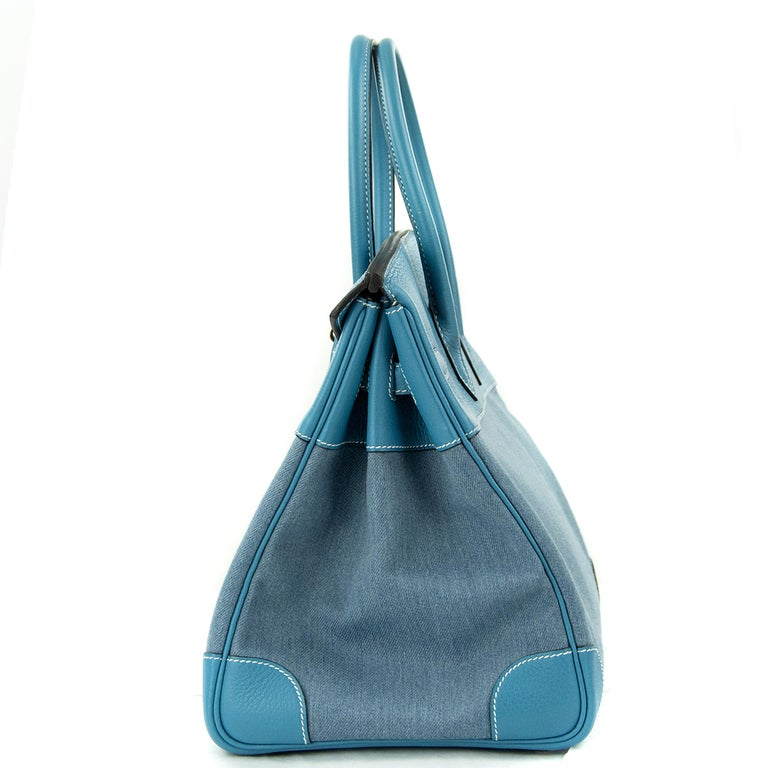 Hermes Birkin Bag 35cm Denim Blue Jean Togo PHW In Excellent Condition For Sale In Newport, RI