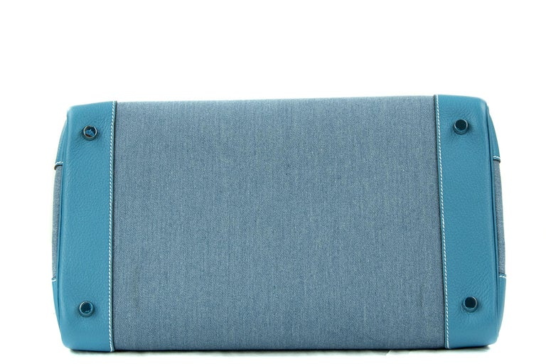 Women's or Men's Hermes Birkin Bag 35cm Denim Blue Jean Togo PHW For Sale