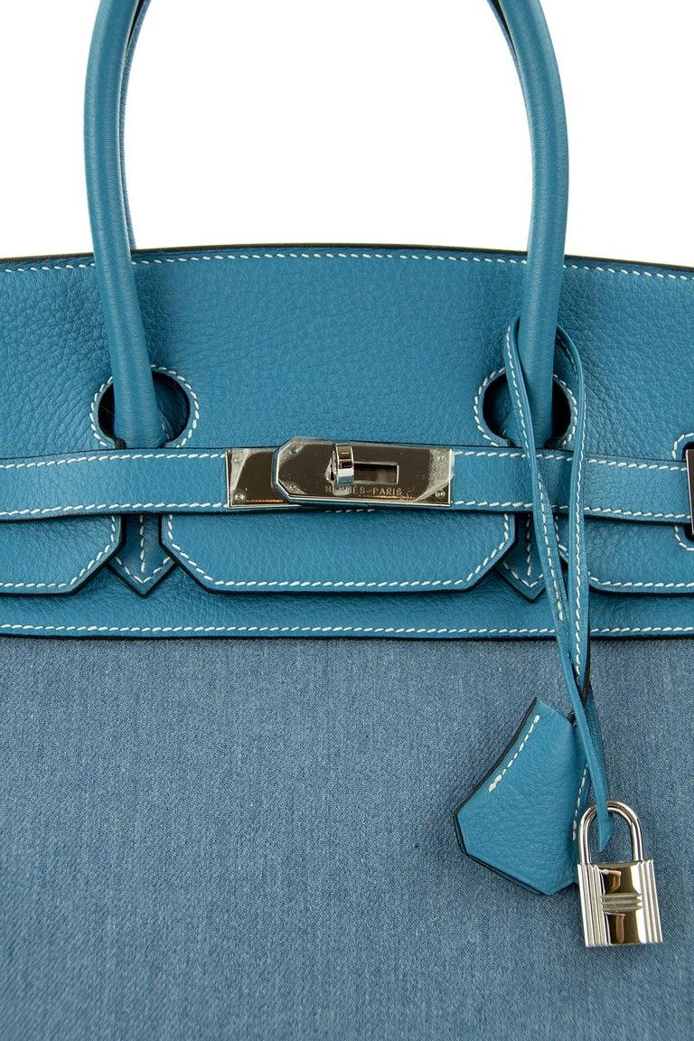 Hermes Birkin Bag 35cm Denim Blue Jean Togo PHW For Sale 1