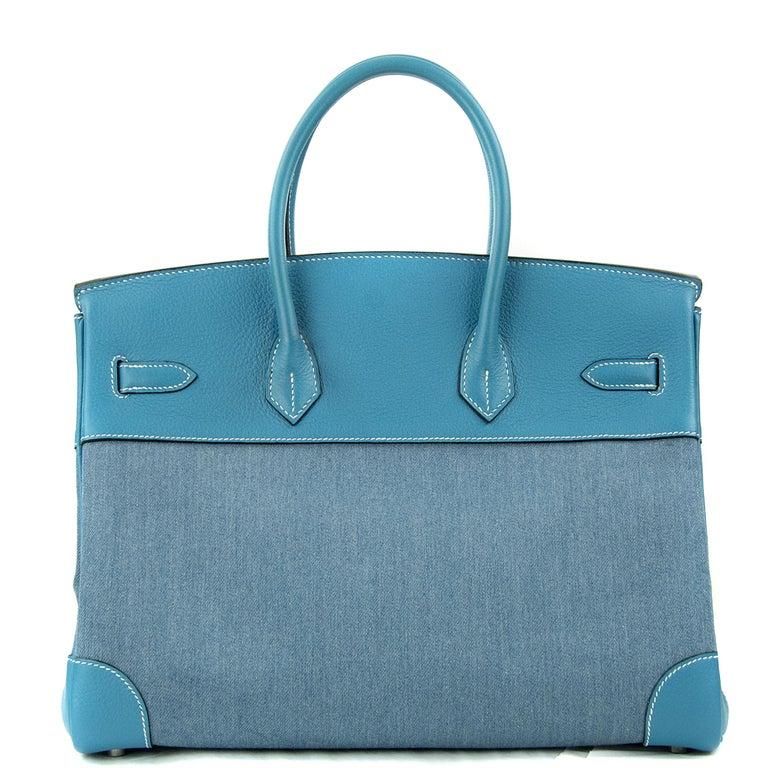 Hermes Birkin Bag 35cm Denim Blue Jean Togo PHW For Sale 5