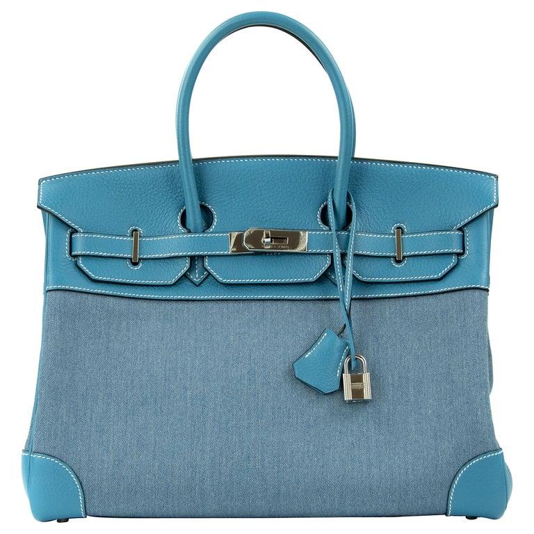 Hermes Birkin Bag 35cm Denim Blue Jean Togo PHW For Sale