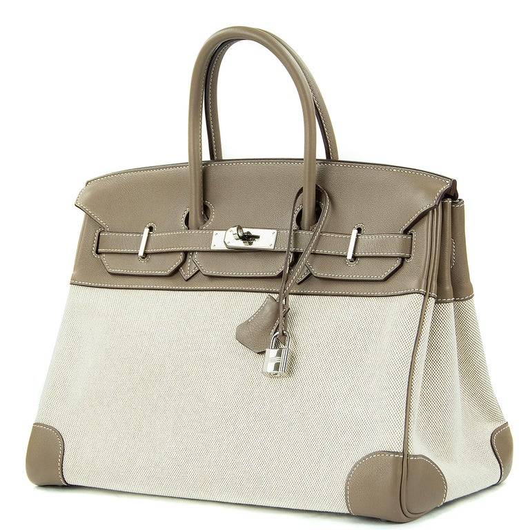 Beige Hermes Birkin Bag 35cm Etoupe Toile Swift PHW (Pre Owned) For Sale
