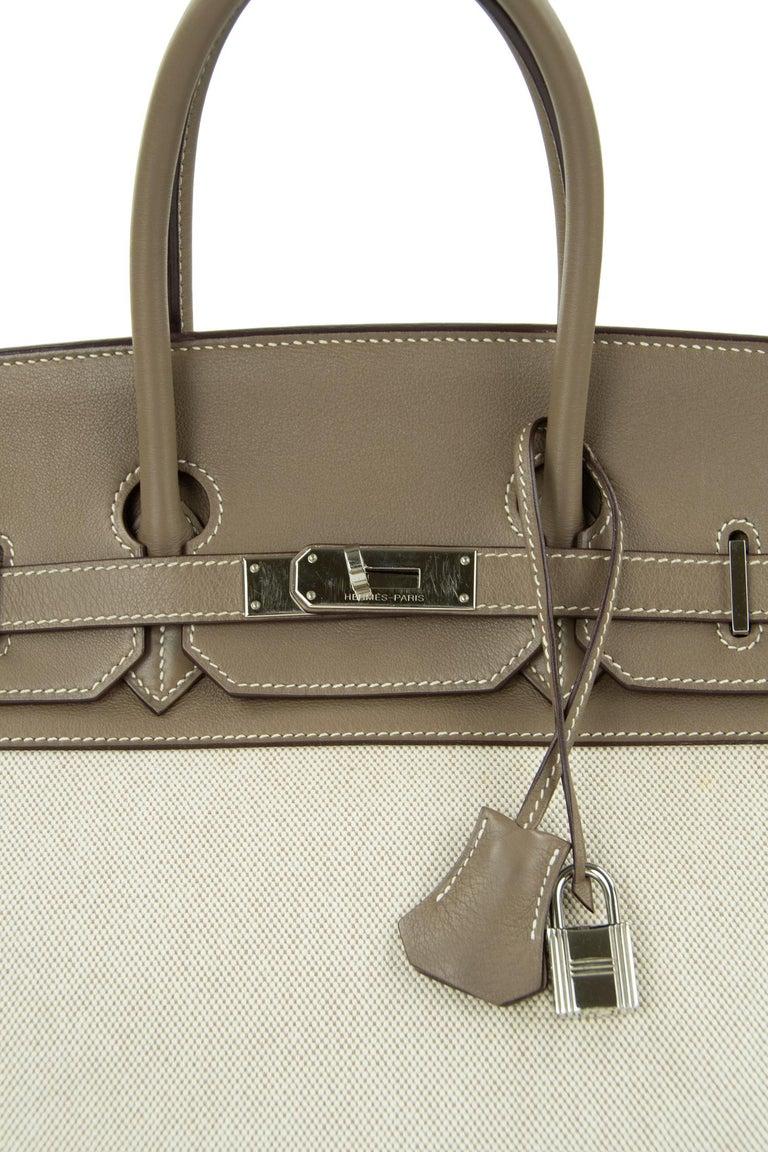 Women's or Men's Hermes Birkin Bag 35cm Etoupe Toile Swift PHW (Pre Owned) For Sale