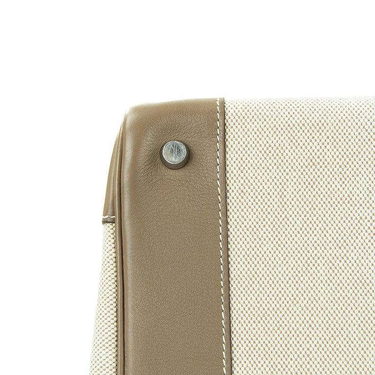 Hermes Birkin Bag 35cm Etoupe Toile Swift PHW (Pre Owned) For Sale 1