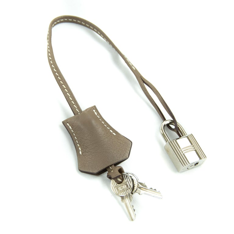Hermes Birkin Bag 35cm Etoupe Toile Swift PHW (Pre Owned) For Sale 2