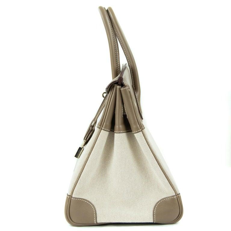 Hermes Birkin Bag 35cm Etoupe Toile Swift PHW (Pre Owned) For Sale 4