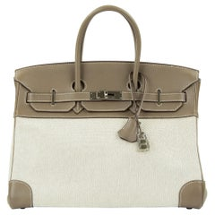 Hermes Birkin Bag 35cm Etoupe Toile Swift PHW (Pre Owned)
