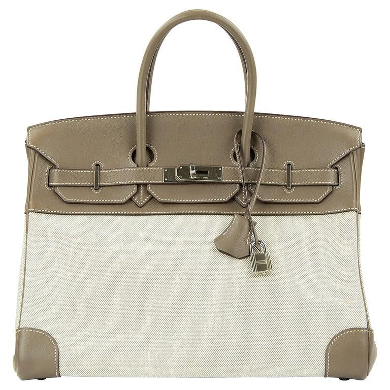 Hermes Birkin Bag 35cm Etoupe Toile Swift PHW (Pre Owned) For Sale