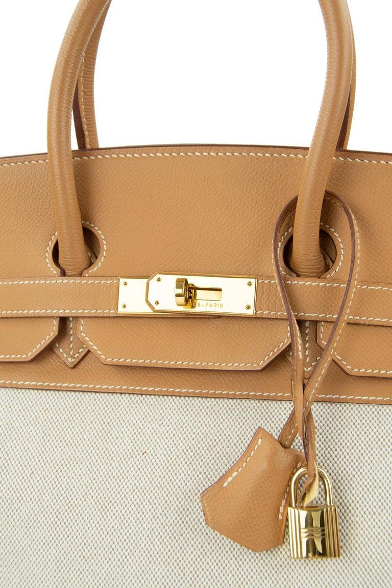 Women's or Men's Hermes Birkin Bag 35cm Gold Toile Epsom GHW (Pre Owned) For Sale