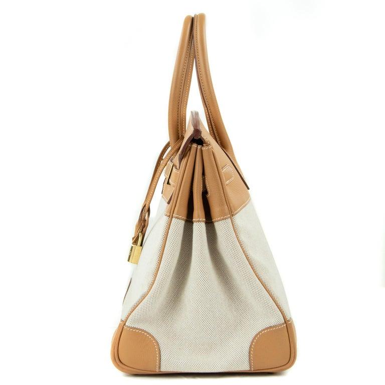 Hermes Birkin Bag 35cm Gold Toile Epsom GHW (Pre Owned) For Sale 1