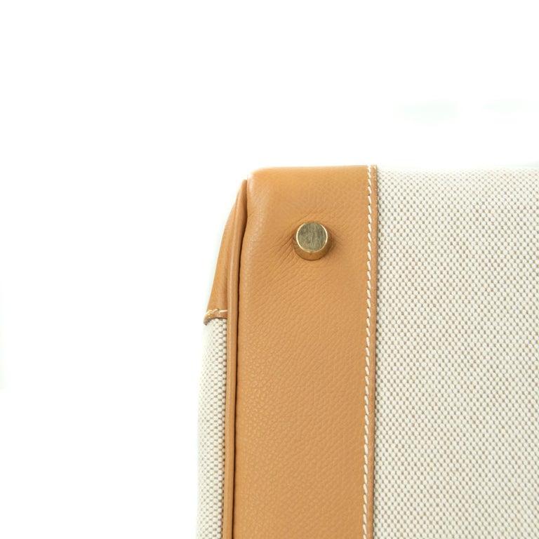 Hermes Birkin Bag 35cm Gold Toile Epsom GHW (Pre Owned) For Sale 2